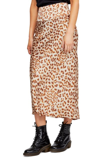 Free People Skirts NORMANI LEOPARD PRINT BIAS CUT MIDI SKIRT