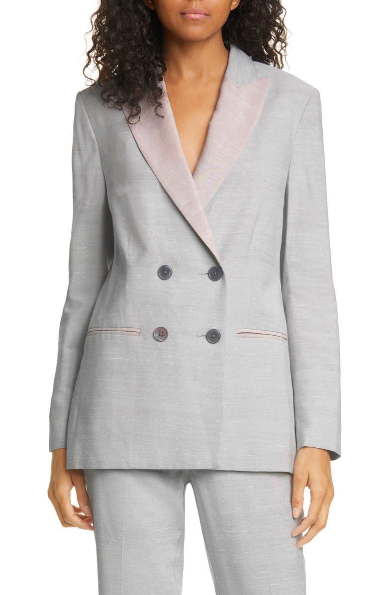 REBECCA TAYLOR Slub Linen Blend Double Breasted Jacket, Main, color, ASH COMBO