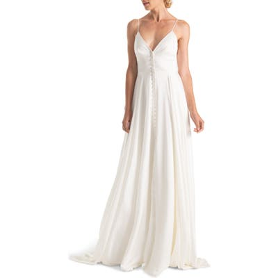 Joanna August Nancy V-Neck Crepe Wedding Dress, White
