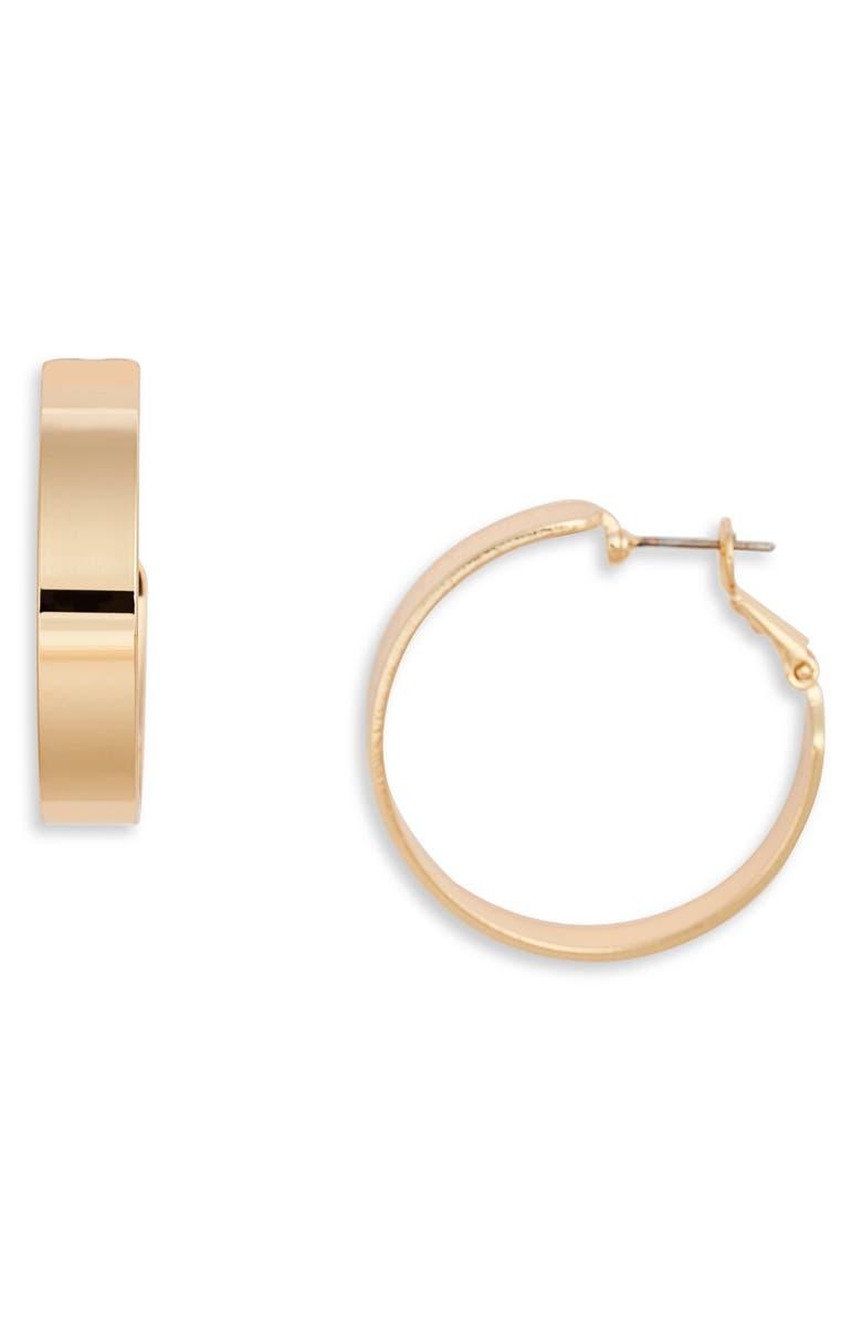 NORDSTROM Medium Sleek Flat Hoop Earrings, Main, color, GOLD