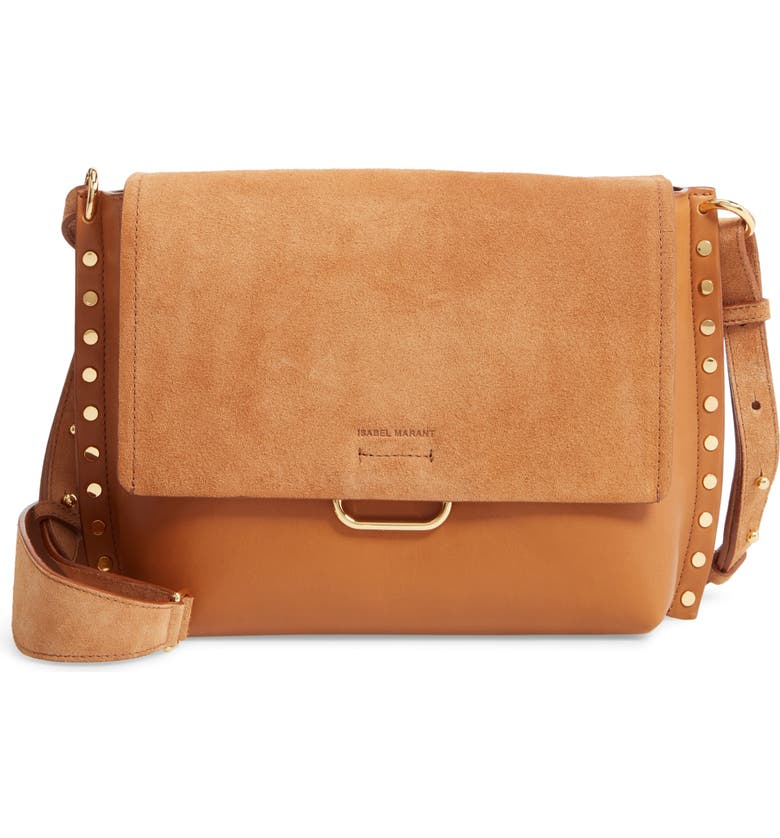 ISABEL MARANT Asli Leather Crossbody Bag, Main, color, COGNAC