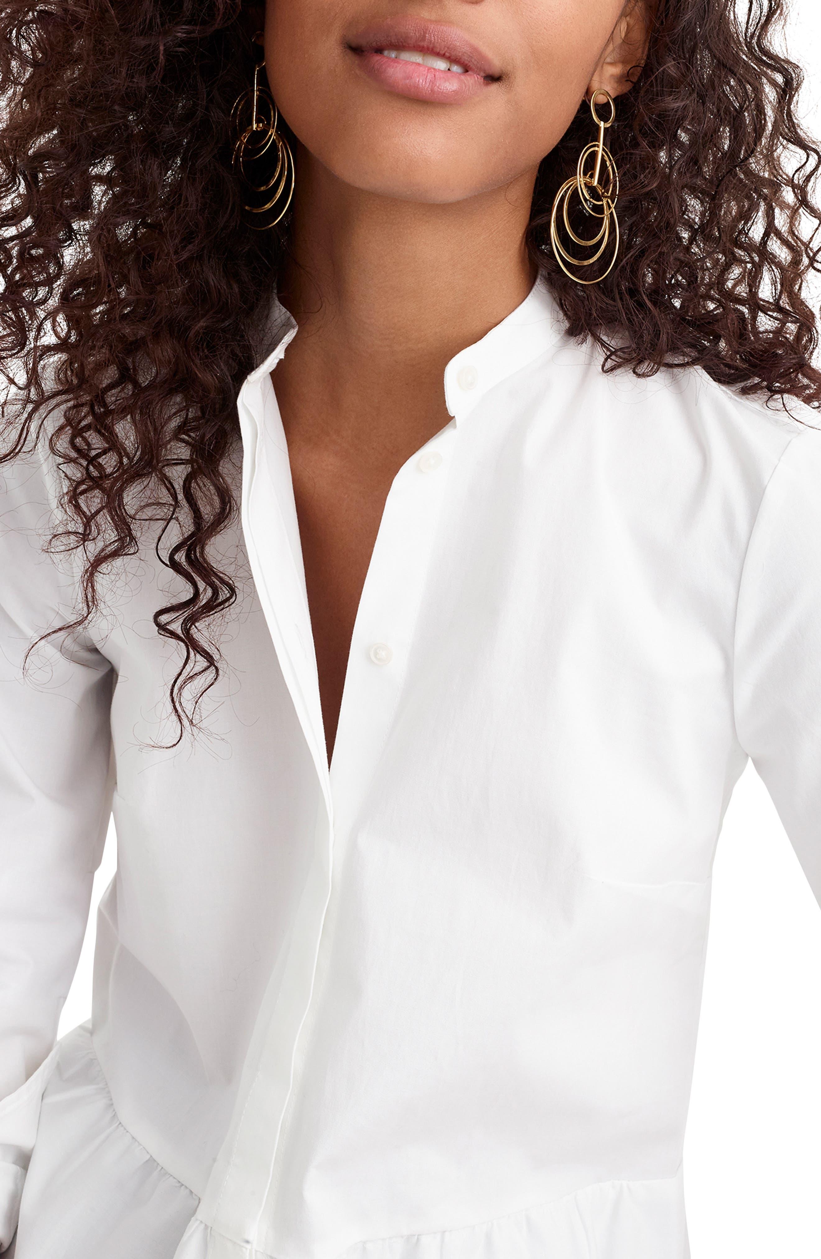 ,                             Stretch Button-Up Peplum Shirt,                             Alternate thumbnail 4, color,                             WHITE