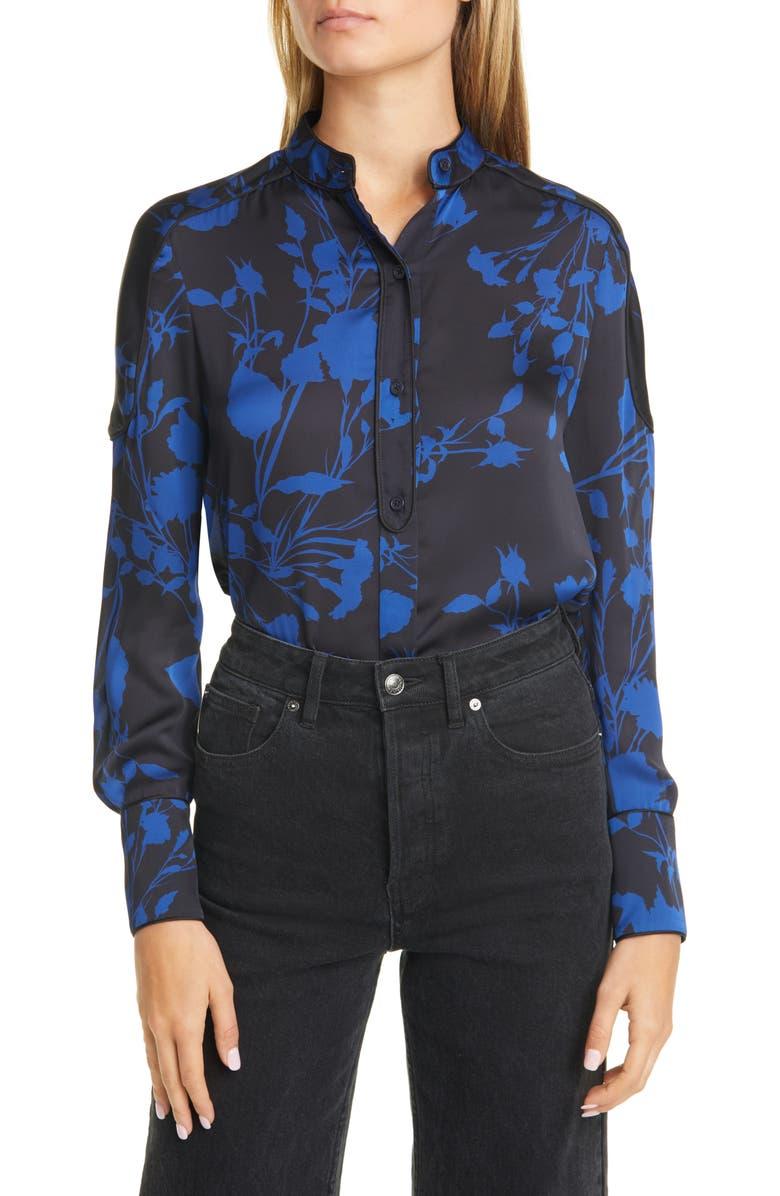 EQUIPMENT Garland Floral Print Long Sleeve Silk Shirt, Main, color, DEEP WELL BLUE