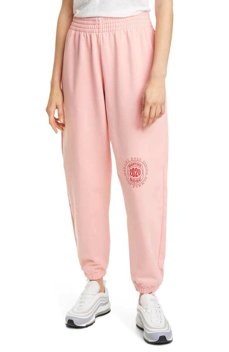 MARTINE ROSE 2020 Slim Cotton Track Pants, Main, color, PEACH