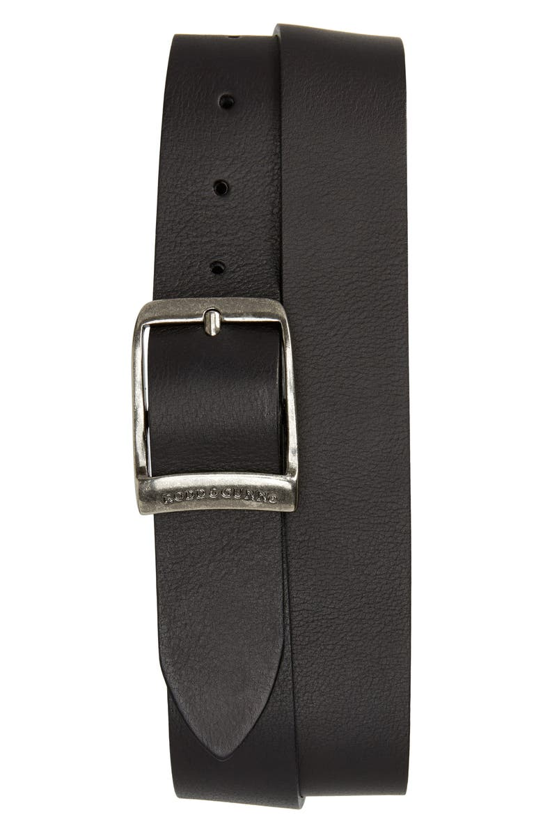 RODD & GUNN Cornonet Crescent Leather Belt, Main, color, NERO