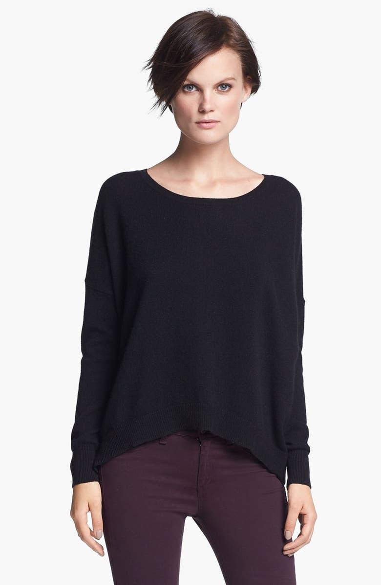 AUTUMN CASHMERE Back Zip Cashmere Sweater, Main, color, 001