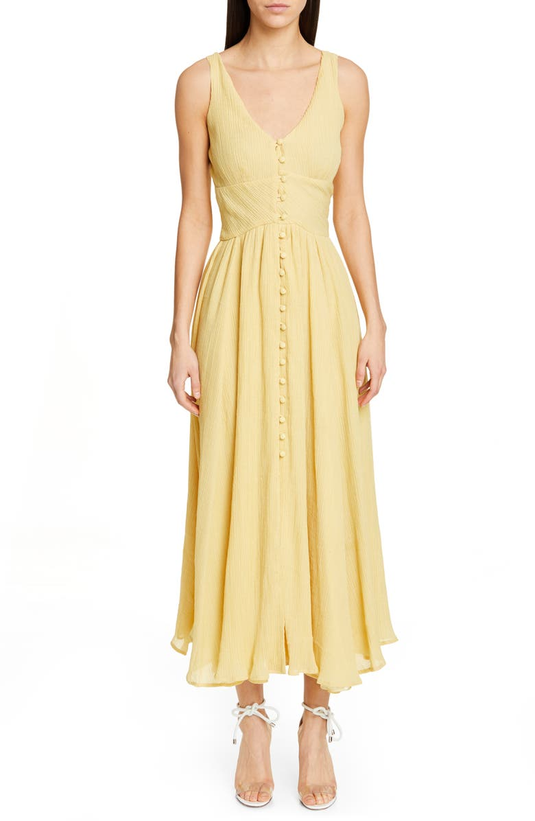CULT GAIA Angela Buckle Back Maxi Dress, Main, color, LEMONADE