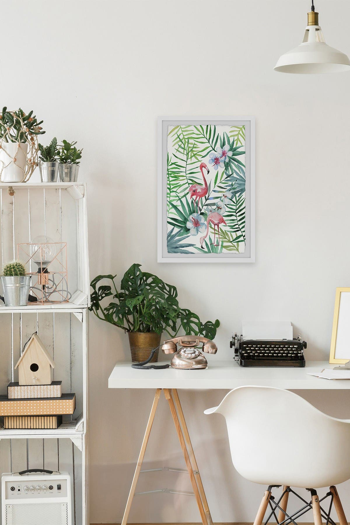 Marmont Hill Inc. Pink Tropical Flamingos Framed Painting Print - 24\\\