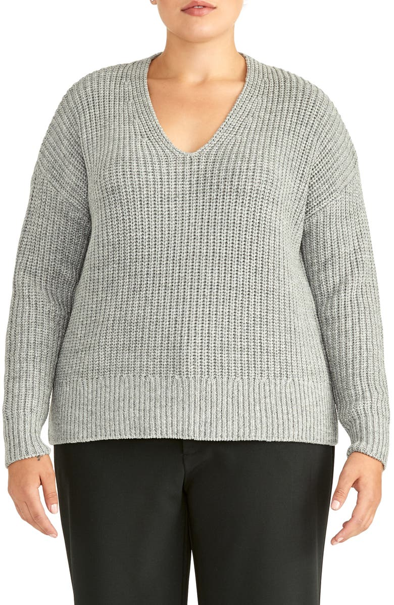 RACHEL ROY COLLECTION Chunky Pullover, Main, color, CHARCOAL HEATHER GREY