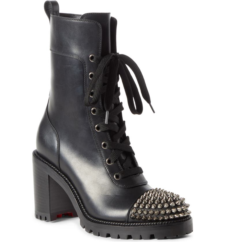 CHRISTIAN LOUBOUTIN Spike Cap Toe Boot, Main, color, BLACK