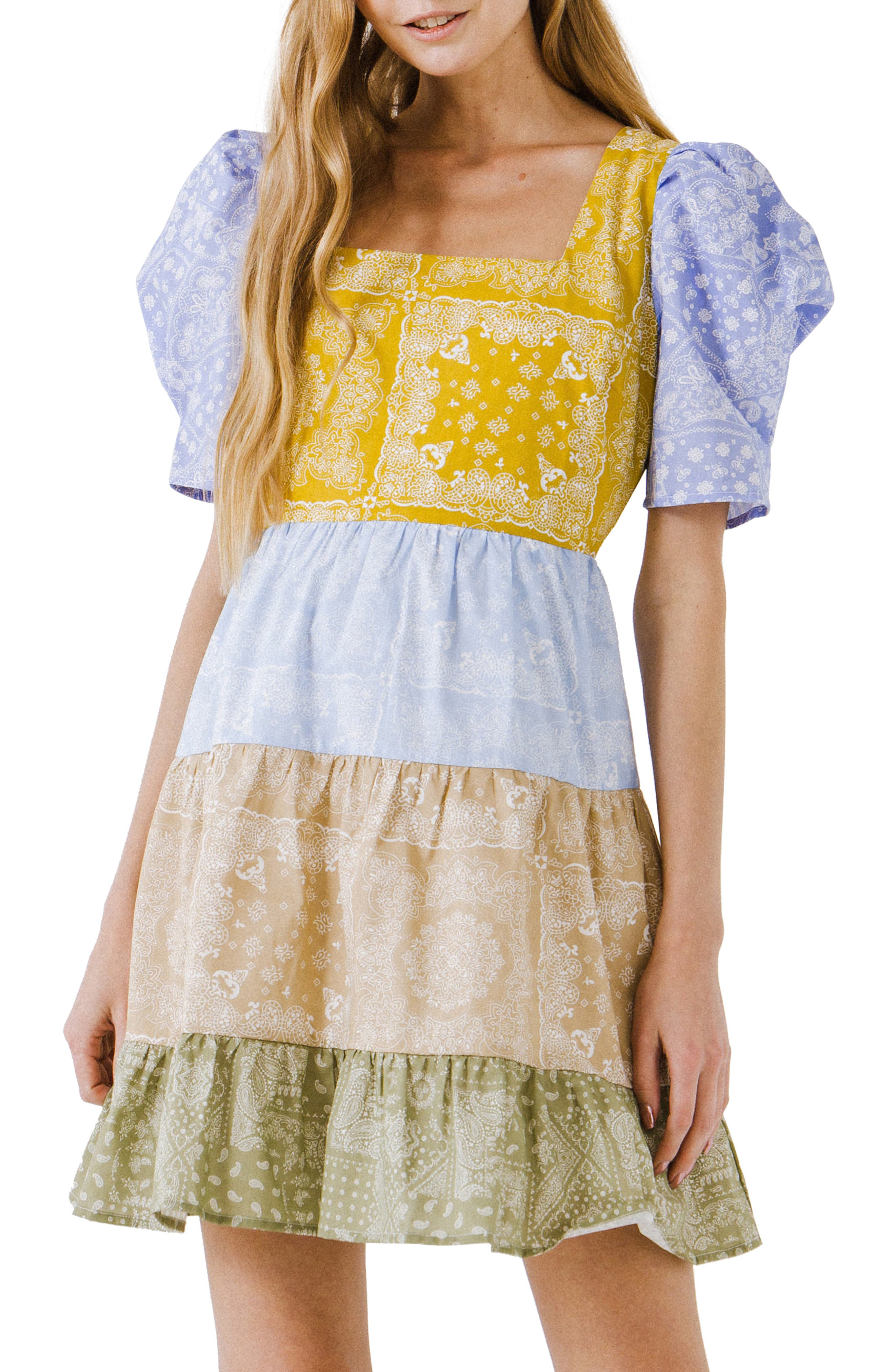 Paisley Colorblock Minidress