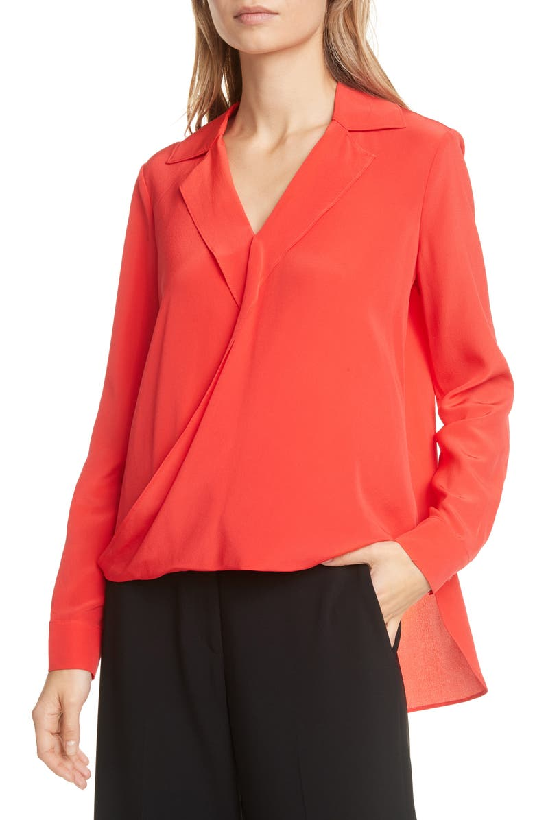 JUDITH & CHARLES Gehry Wrap Front Silk Georgette Blouse, Main, color, RED