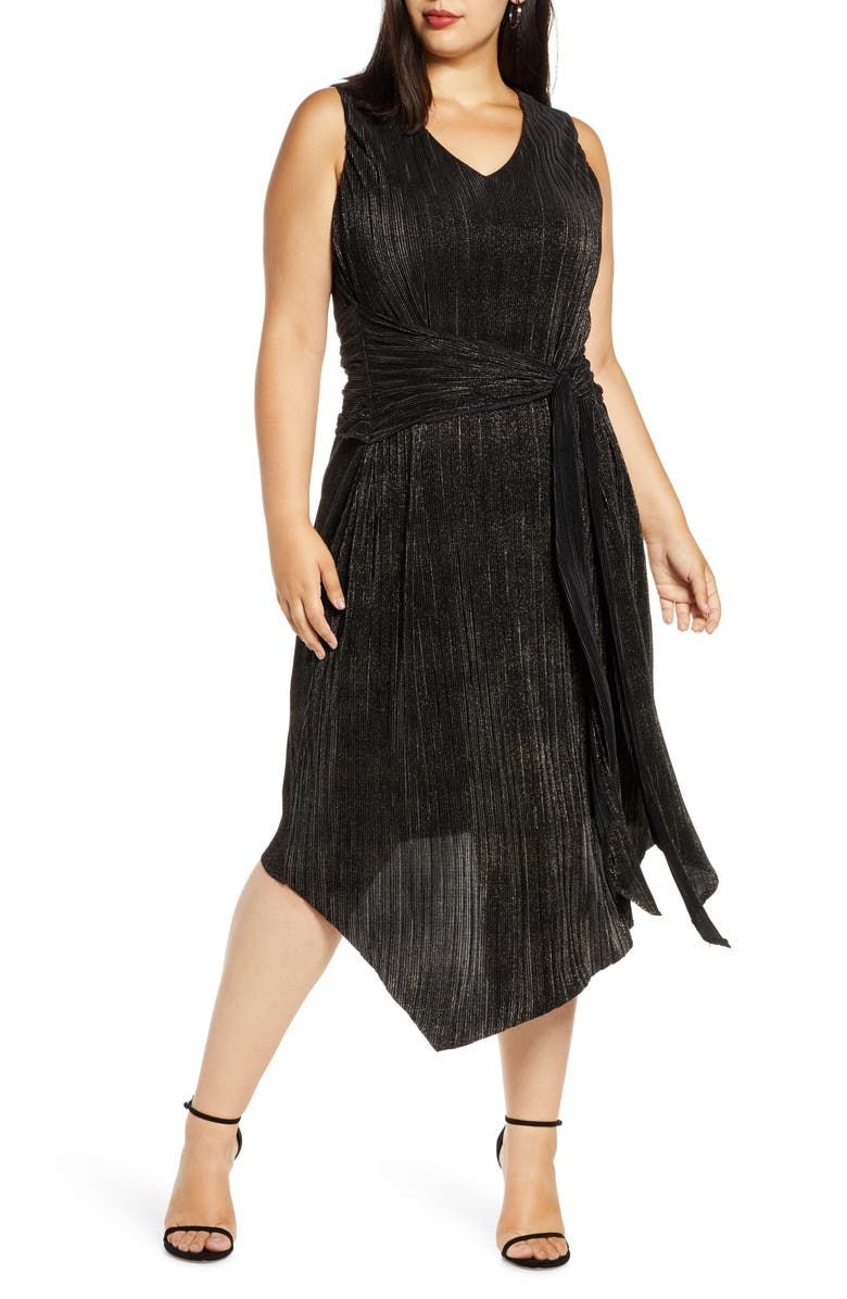RACHEL RACHEL ROY Alex Asymmetrical Cocktail Dress, Main, color, BLACK/ GOLD