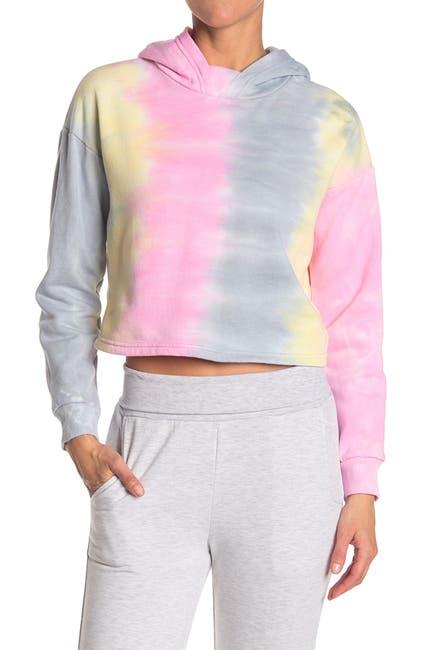 Image of 90 Degree By Reflex Tie-Dye Brushed Crop Hoodie