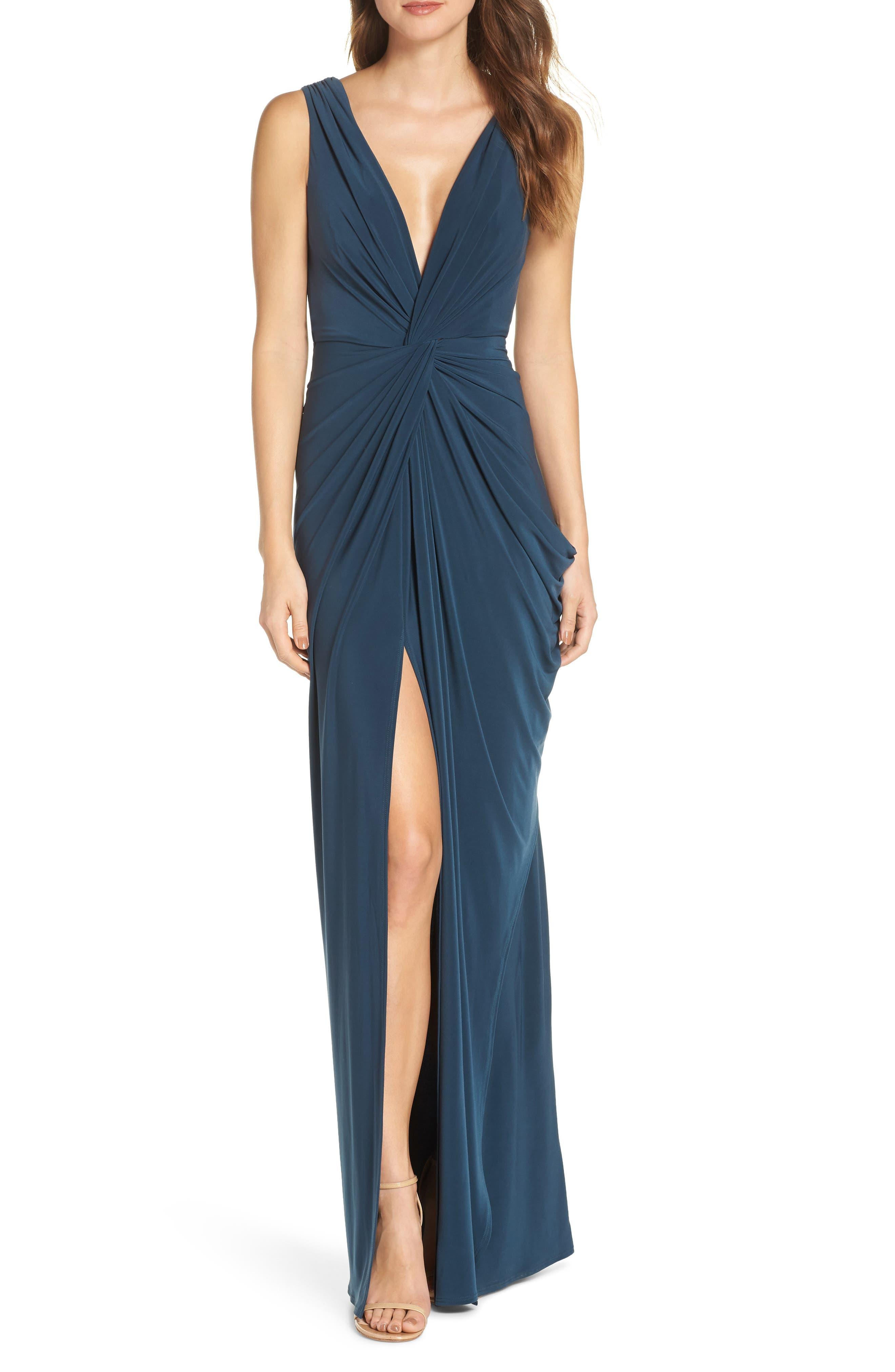 Katie May Leo Twist Front Evening Dress, Blue