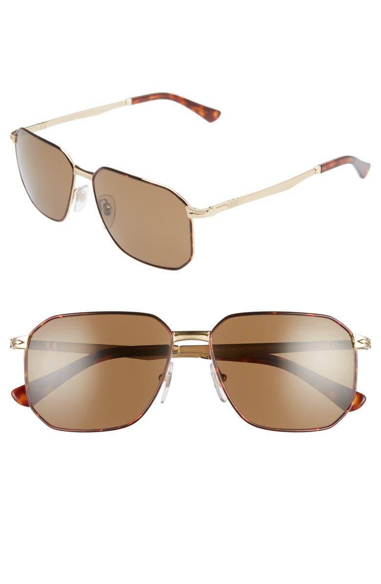 PERSOL 58mm Polarized Navigator Sunglasses, Main, color, BROWN/ BROWN