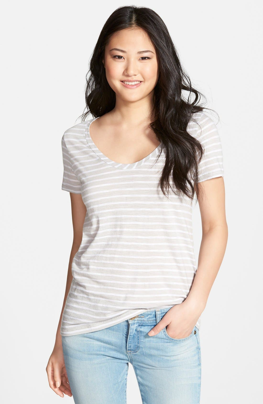 ,                             Relaxed Slub Knit U-Neck Tee,                             Main thumbnail 111, color,                             033