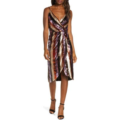Forest Lily Striped Sequin Faux Wrap Dress, Brown