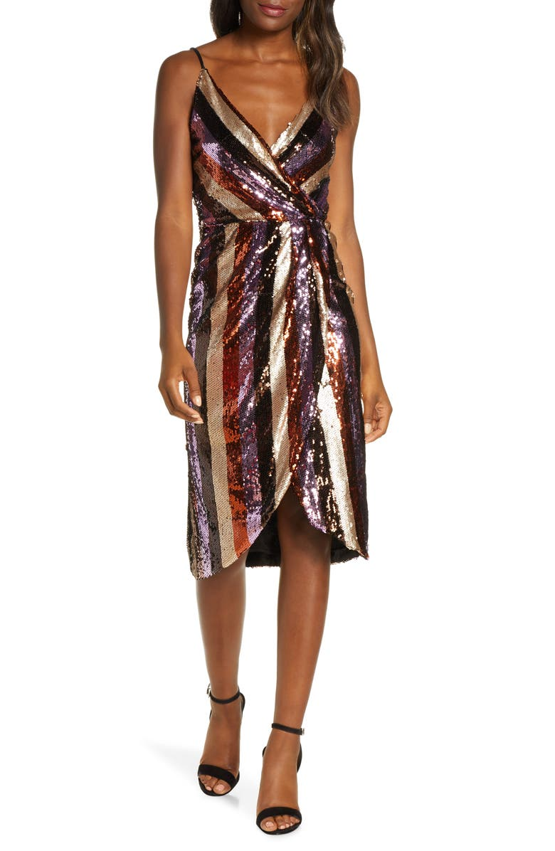 FOREST LILY Striped Sequin Faux Wrap Dress, Main, color, LILAC/ BROWN