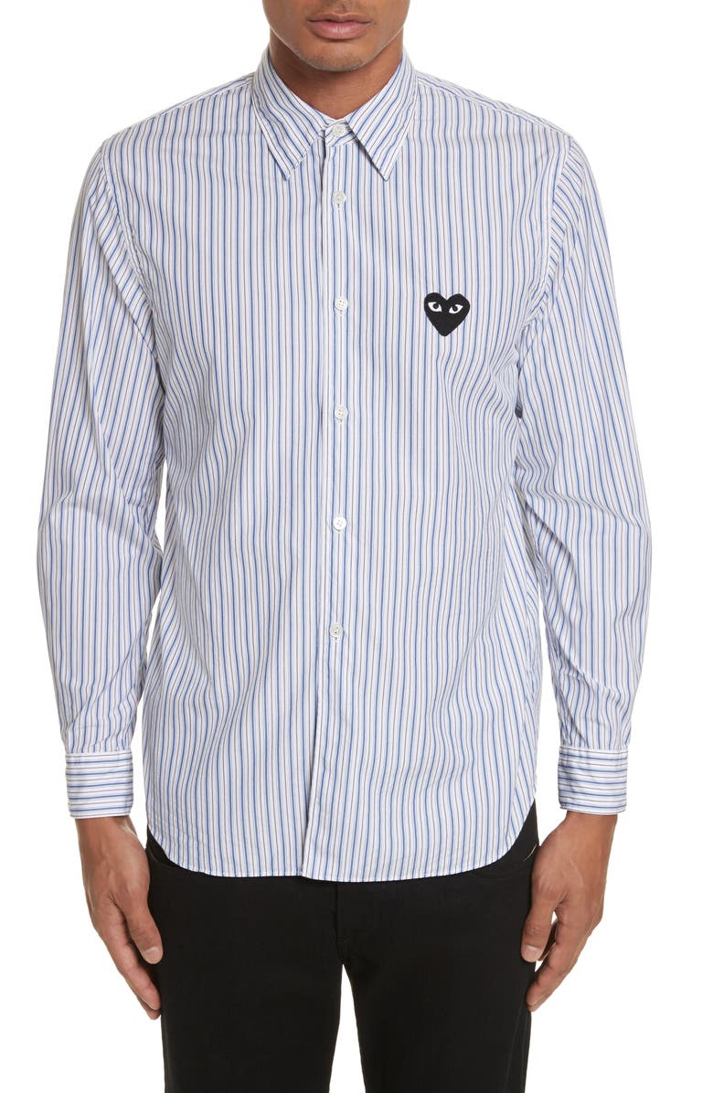 COMME DES GARÇONS PLAY Black Heart Stripe Oxford Shirt, Main, color, 400