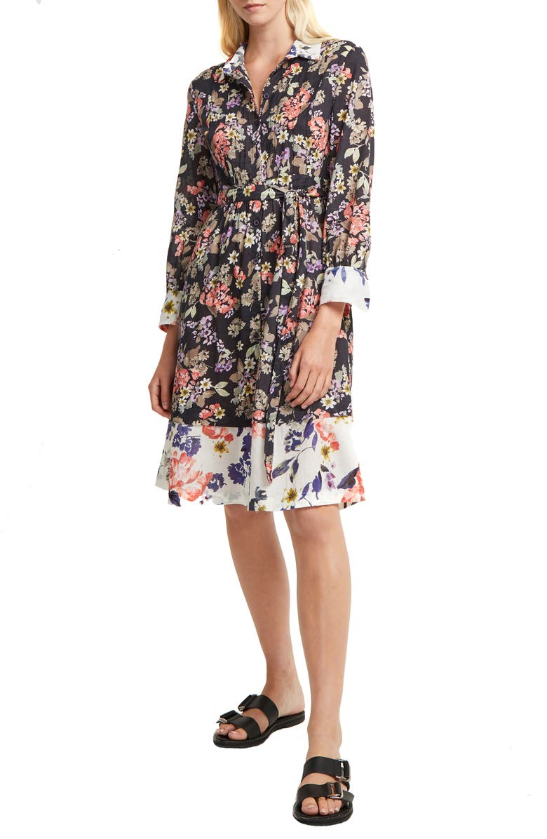 FRENCH CONNECTION Acaena Floral Long Sleeve Cotton Shirtdress, Main, color, UTILITY BLUE-CLASSIC CREAM