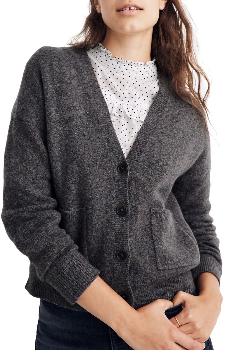 MADEWELL Arbour Cardigan Sweater, Main, color, HEATHER SHADOW