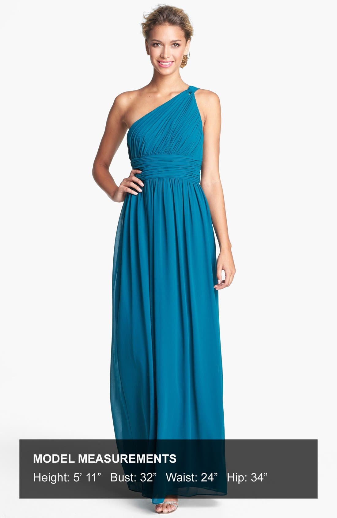 ,                             'Rachel' Ruched One-Shoulder Chiffon Gown,                             Alternate thumbnail 48, color,                             324