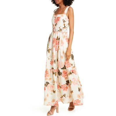 Nicholas Floral Print Linen Maxi Dress, White