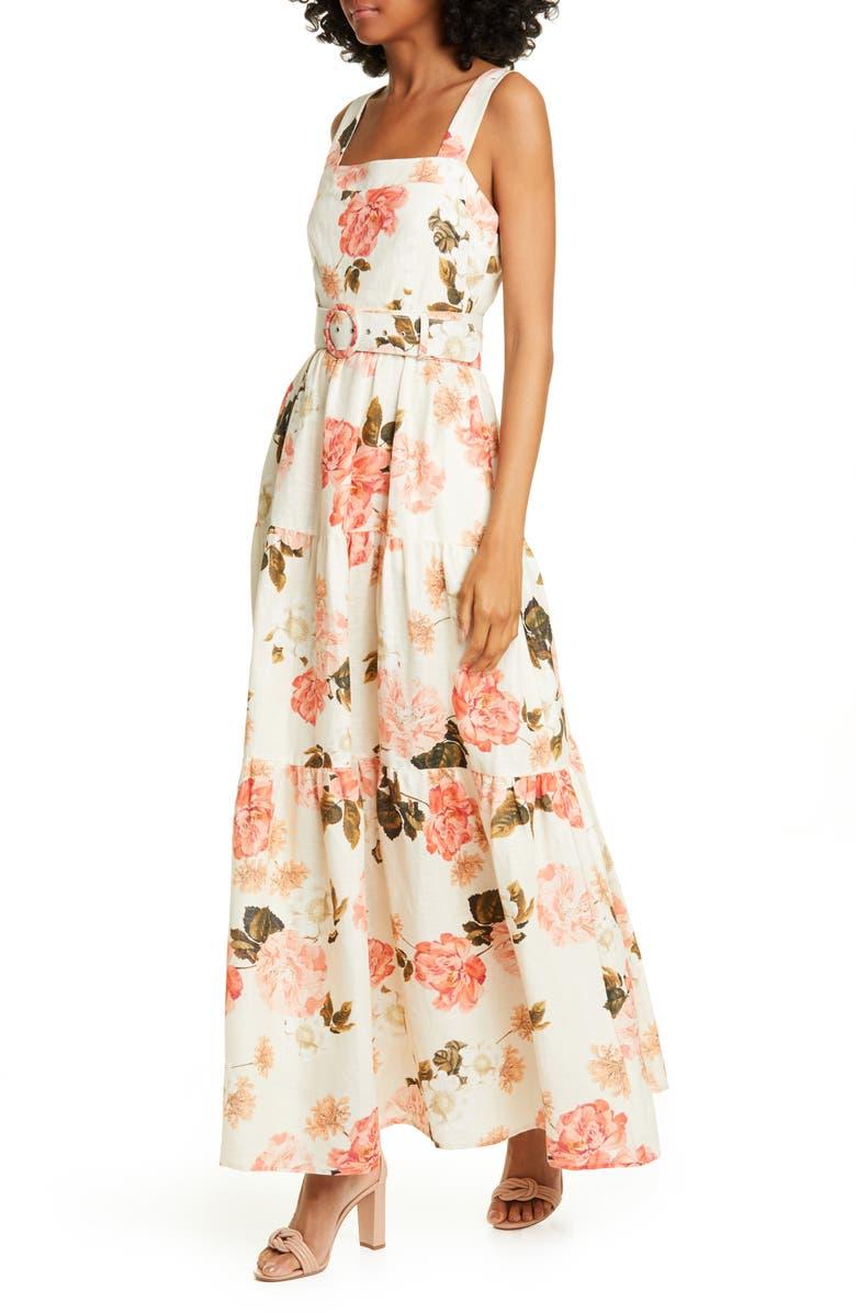 NICHOLAS Floral Print Linen Maxi Dress, Main, color, 100