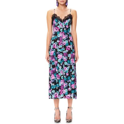 Afrm Sanders Lace Trim Floral Midi Dress, Black