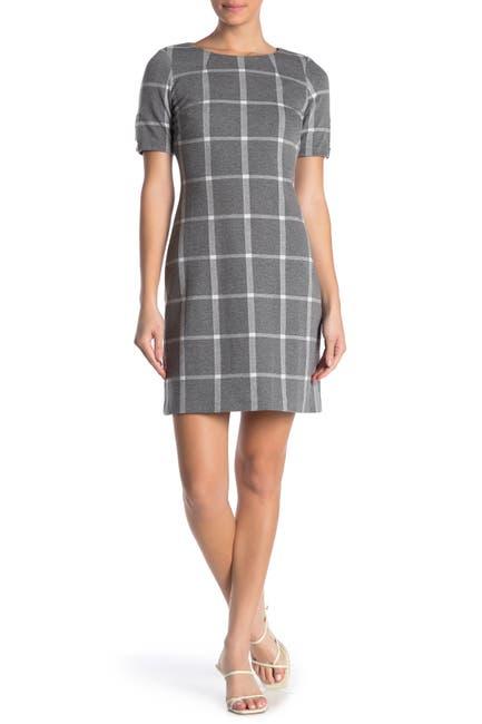 Image of Calvin Klein Windowpane Print Knit Dress