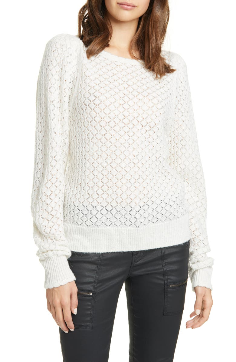 JOIE Moxya Pointelle Puff Sleeve Sweater, Main, color, 100