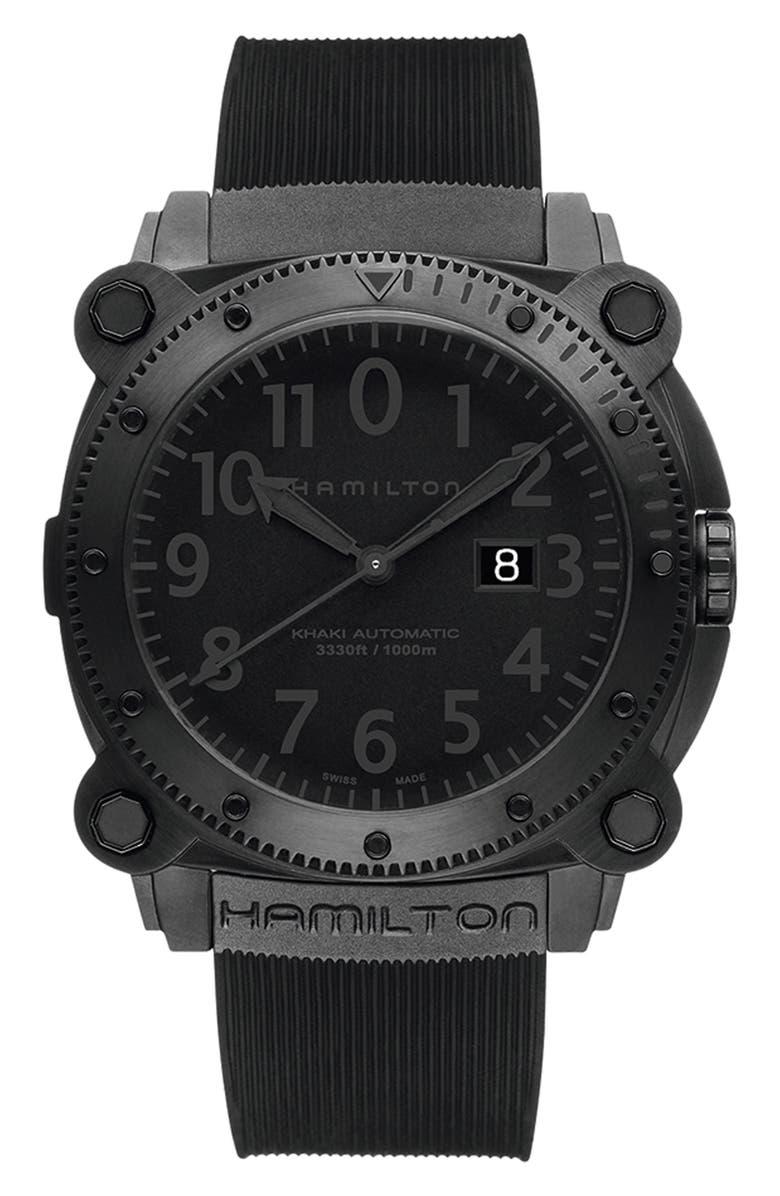 Hamilton Khaki BelowZero Automatic Rubber Strap Watch 46mm