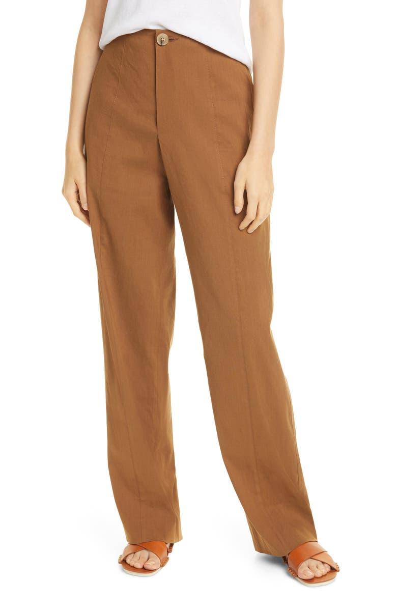 VINCE Topstitch Seam Linen Blend Trousers, Main, color, PECAN