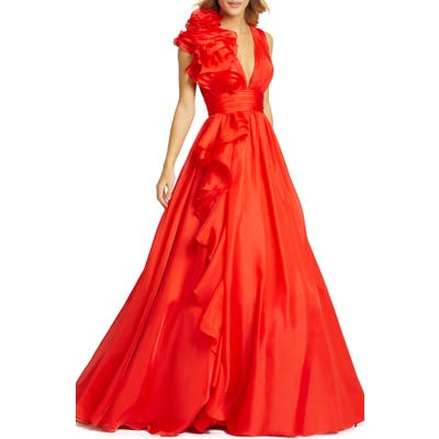 MAC Duggal Ruffle Detail Ruched Chiffon Ballgown, Red