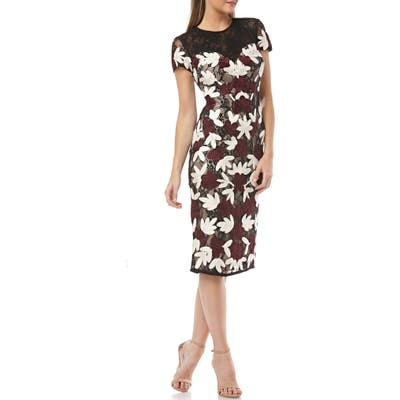 Js Collections Floral Two-Tone Embroidered Dress