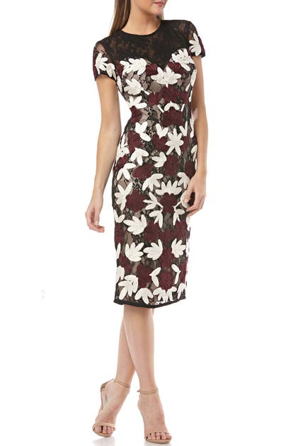 Js Collections Dresses FLORAL TWO-TONE EMBROIDERED DRESS