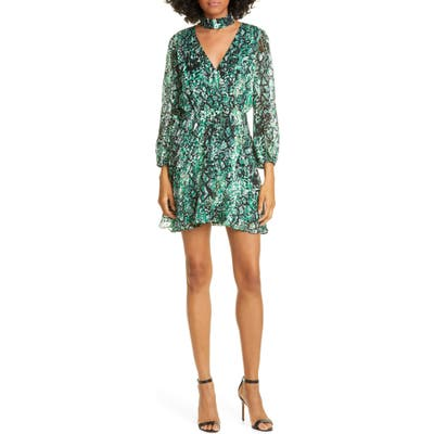 Alice + Olivia Rita Long Sleeve Snake Print Minidress, Black