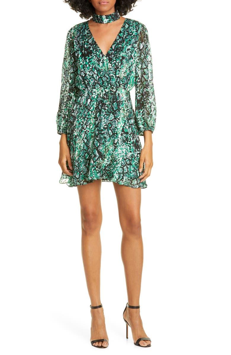 ALICE + OLIVIA Rita Long Sleeve Snake Print Minidress, Main, color, BLACK/ EMERALD
