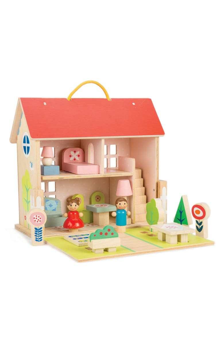 TENDER LEAF TOYS Portable Wooden Dollhouse Set, Main, color, 100