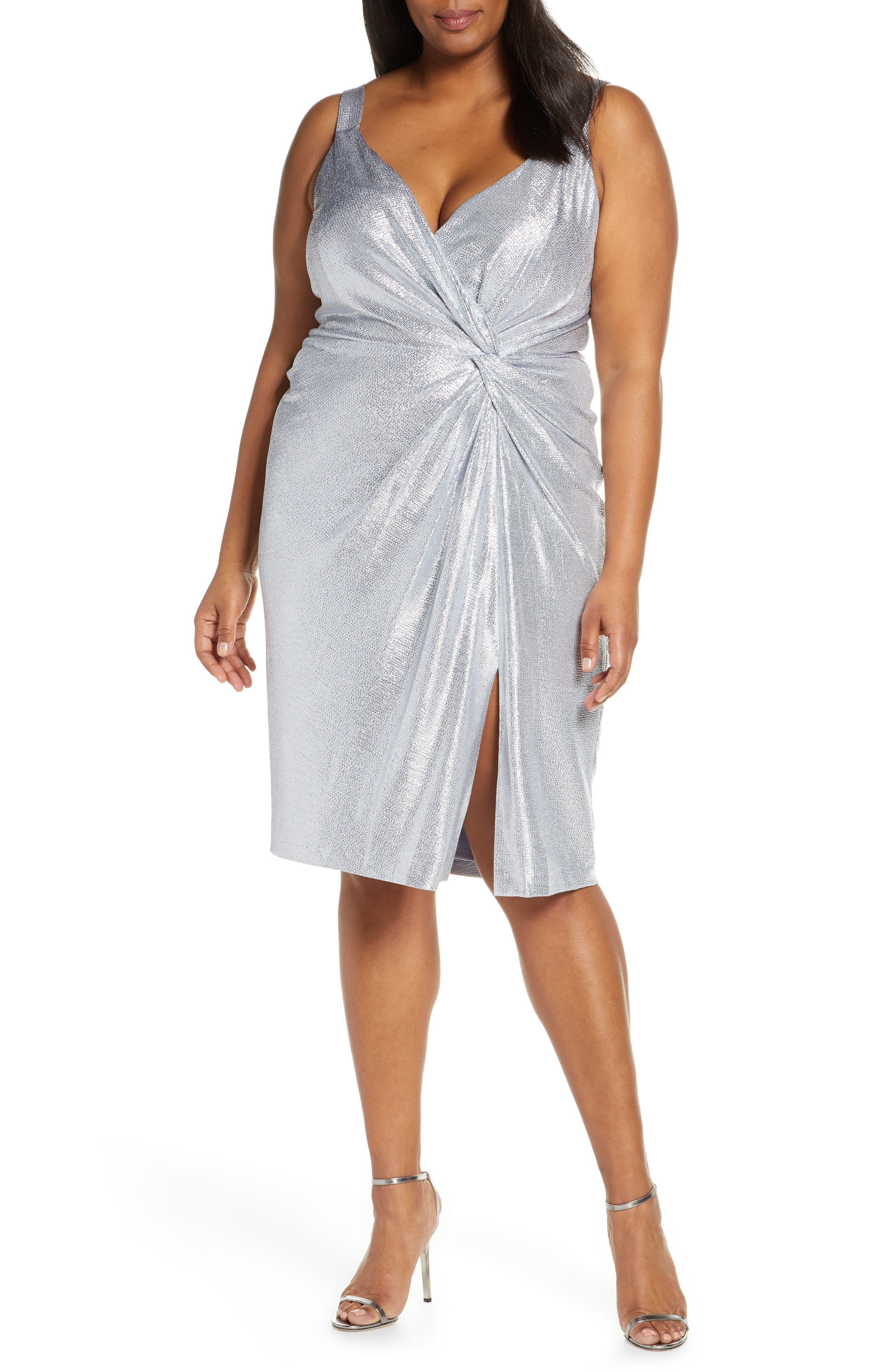 Plus Size Eliza J Twisted Cocktail Dress, Metallic