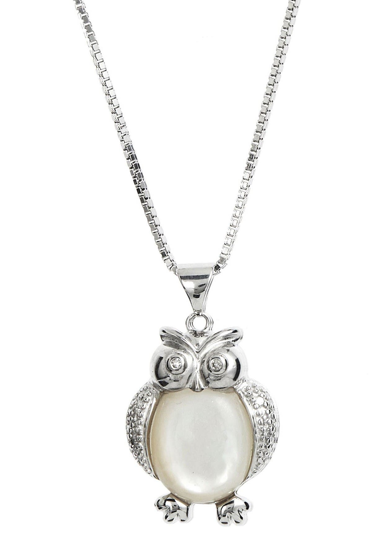 Image of Savvy Cie Sterling Silver Diamond & Mother of Pearl Owl Necklace