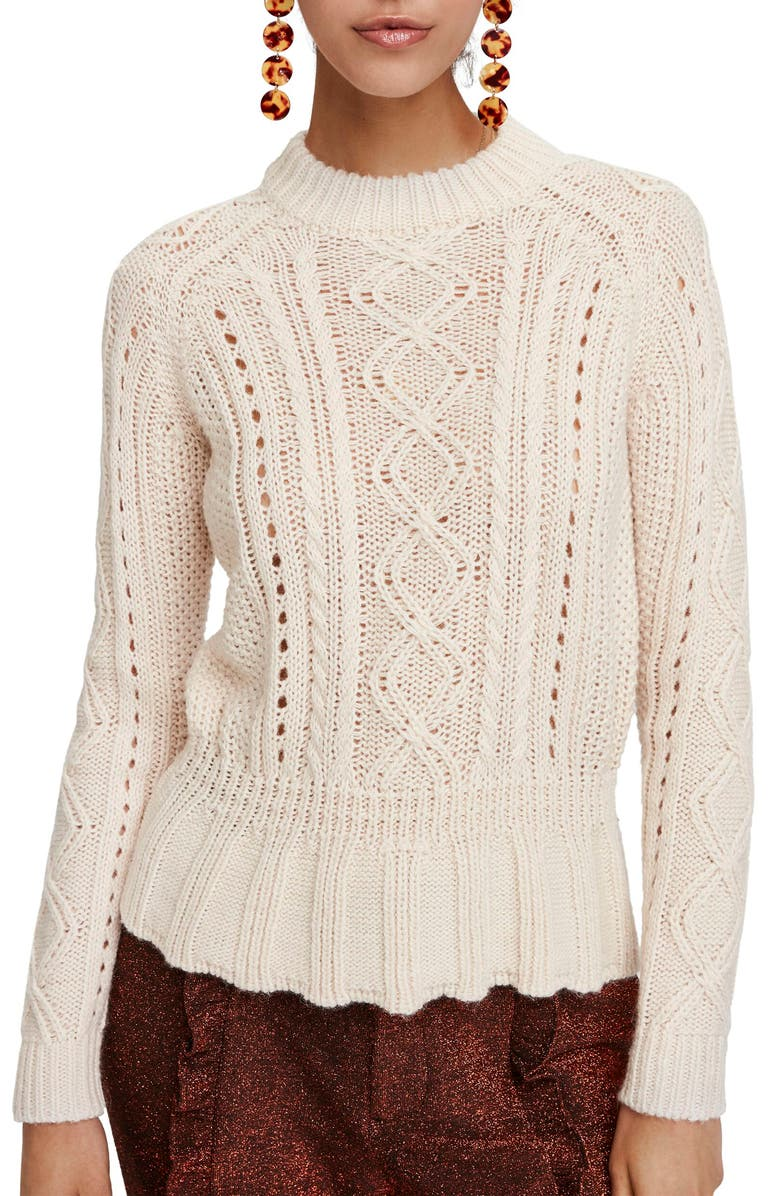 SCOTCH & SODA Chunky Cable Knit Peplum Sweater, Main, color, OFF WHITE