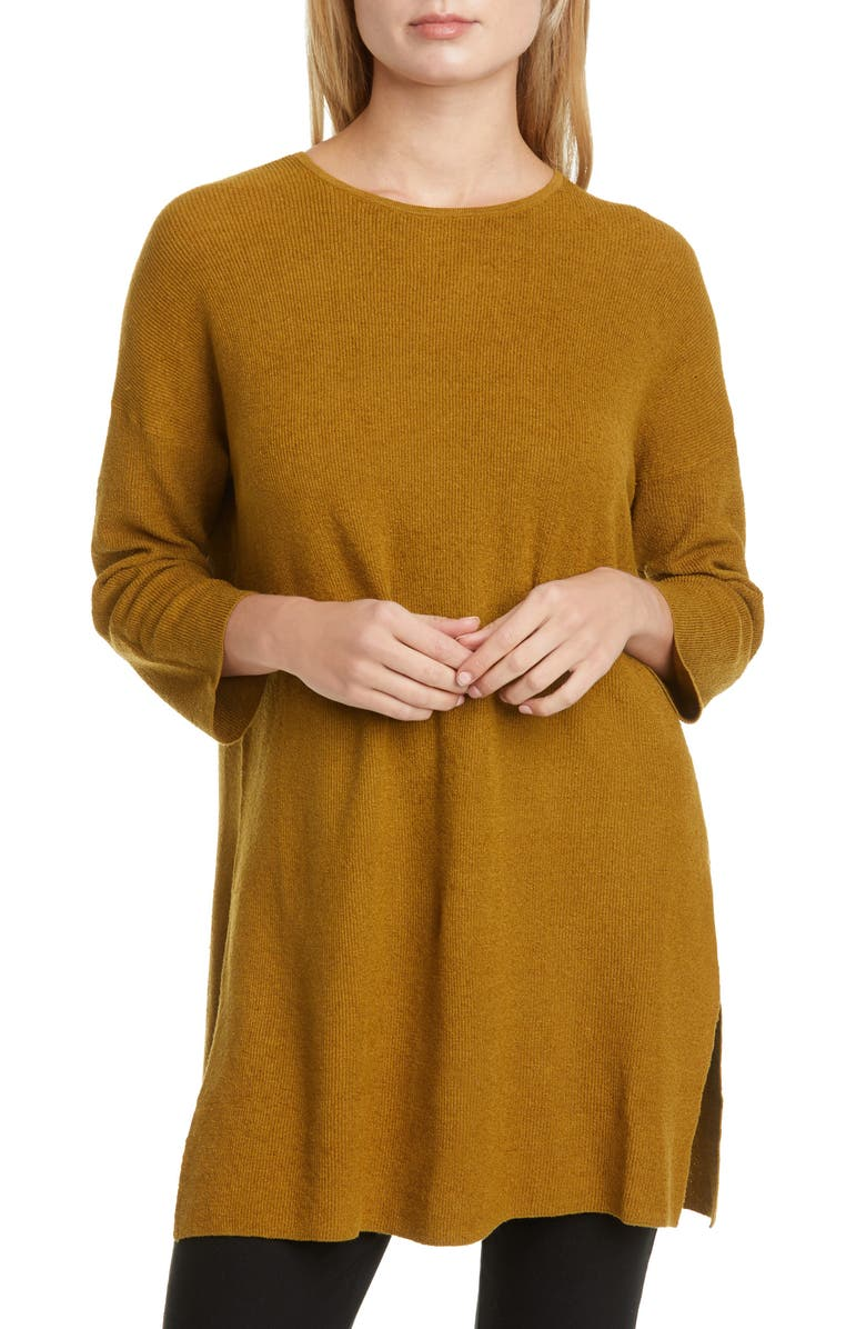 EILEEN FISHER Organic Linen Blend Tunic Sweater, Main, color, GOLD LEAF