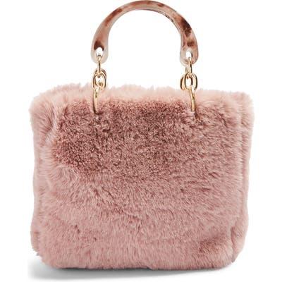 Topshop Faith Faux Fur Top Handle Bag - Beige