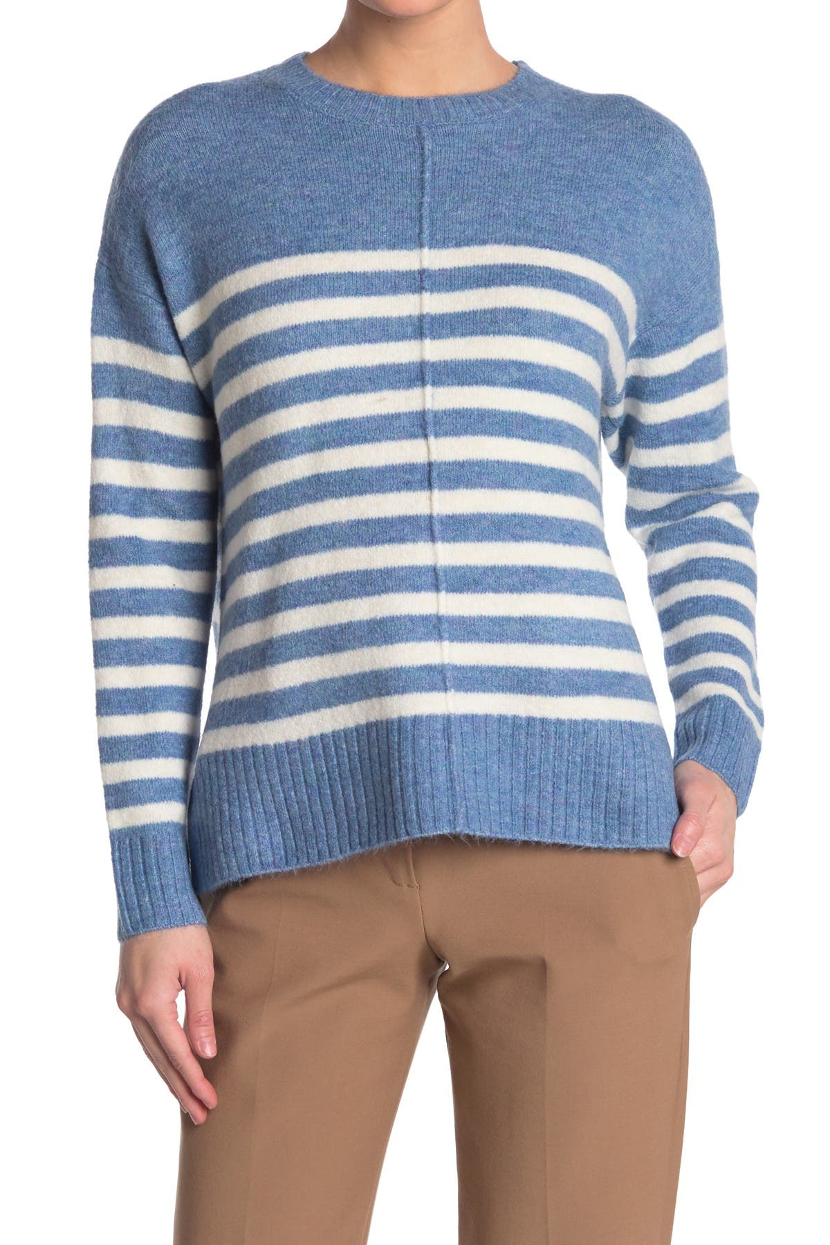 Image of CURRENT AIR Striped Crew Neck Pullover Sweater