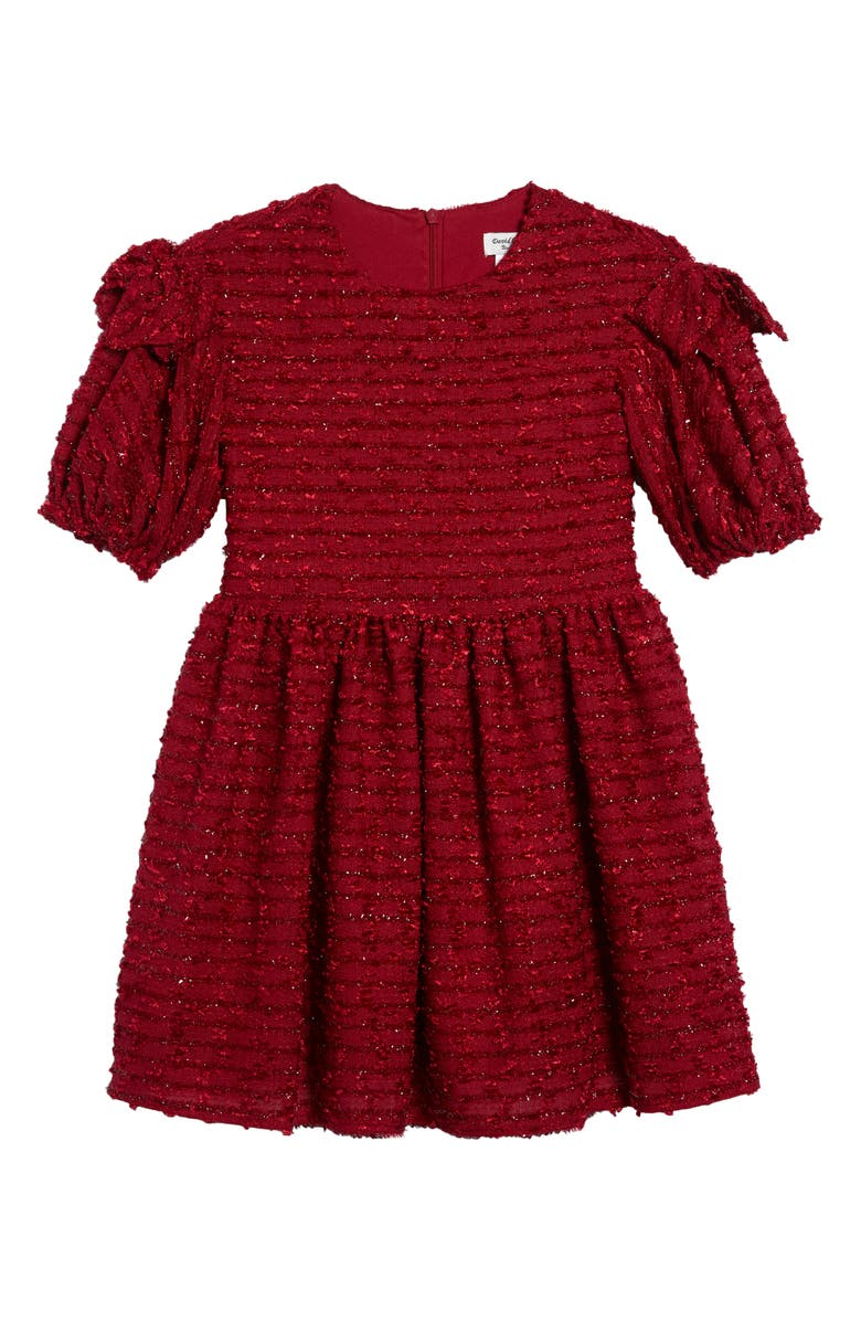 DAVID CHARLES Sparkle Bouclé Dress, Main, color, WINE