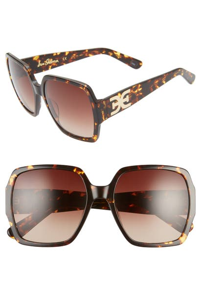 Sam Edelman 65mm Gradient Oversize Square Sunglasses In Tortoise