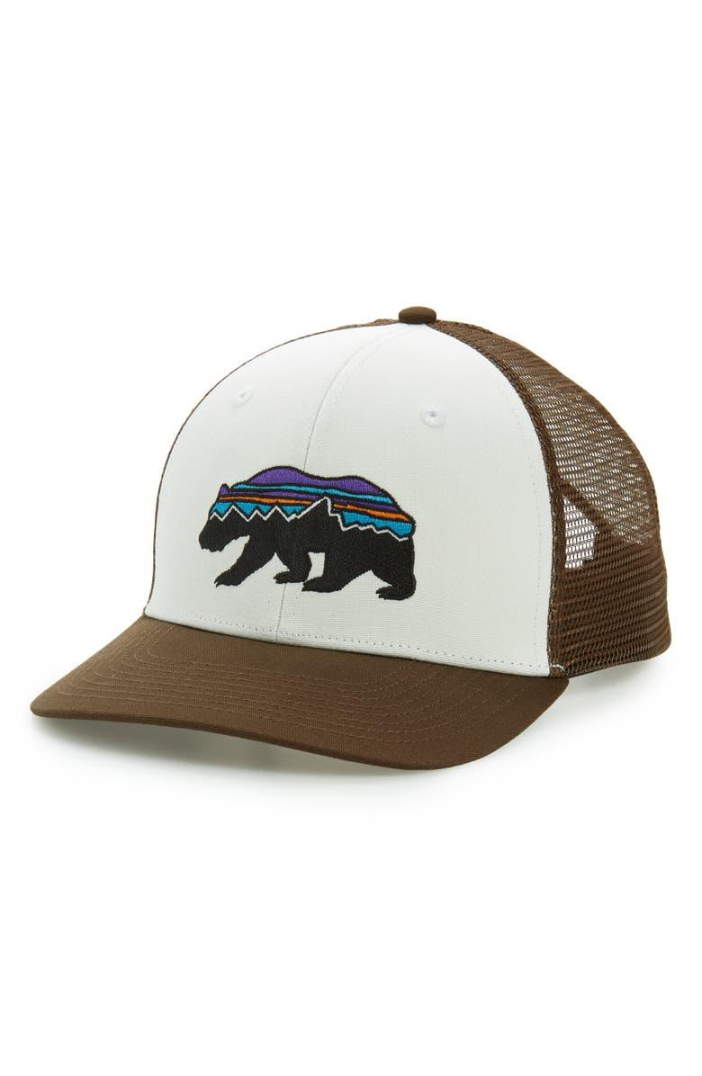 PATAGONIA Fitz Roy Bear Trucker Cap, Main, color, WHITE W/ BRISTLE BROWN