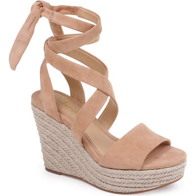 Splendid Tessie Ankle Wrap Wedge Sandal- Beige